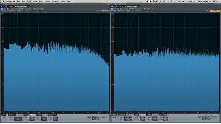 Hydrasynthのホワイトノイズの周波数特性。左:Warmモード オン 右:Warmモード オフ